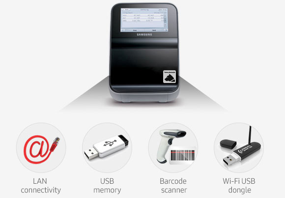 LAN connectivity, USB, Barcode scanner, WIFI dongle connectivity